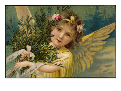 Christmas Angel Carrying an Armful of Ornamental Foliage