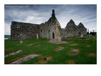 Clonmacnoise Monastery on the Banks of the River Shannon, Leinster, Ireland