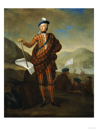 Harlequin Portrait of Prince Charles Edward Stewart (1720-1788), in Red Tartan Coat, Breeches