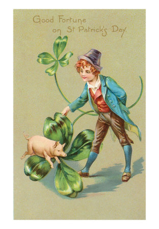 St. Patrick's Day, Pig, Leprechaun and Shamrock