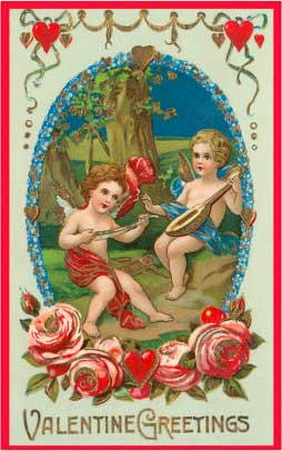 Valentine Greetings, Cupids Playing Music