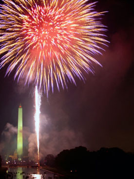 Fireworks Above Washington Monument on 4th of July, Washington DC, USA