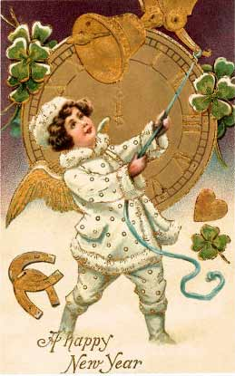 Happy New Year, Victorian Child Ringing Bell