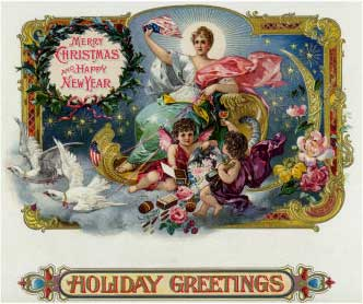 Holiday Greetings Brand Cigar Box Label, Merry Christmas and Happy New Year