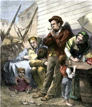 Irish Immigrant Family on a Summer Evening in the Shantytown at the Five Points, New York City