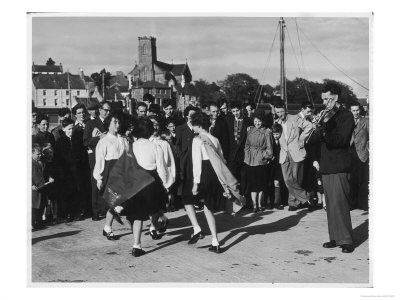 Crowd Watching Girls Performing Traditional Irish Dancing at Killybegs County Donegal Ireland