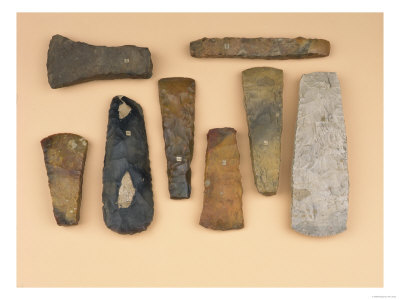 Collection of Neolithic to Early Bronze Age Weapon Heads Including Scandinavian Stone Battle